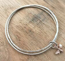 Bumble Bee Double Bangle Handmade Textured Sterling Silver Rose Gold Bee