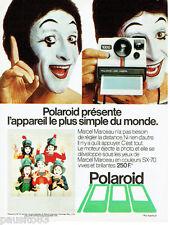 PUBLICITE ADVERTISING 115  1978  Polaroid  appareil photo SX 70 mime Marceau 2