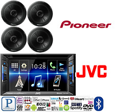 JVC KW-V25BT Double DIN Car Stereo W/ Pioneer TS-G1645R 250W 6-1/2 Car Speakers