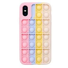 Pop Fidget Toy Soft Silicone Protective Case Cover For iPhone Xs Max -Pink/White