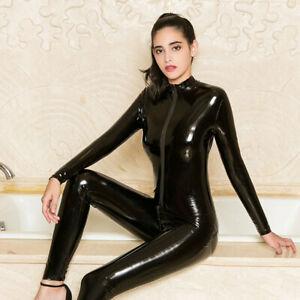 Women Sexy Shining Leather Bodysuit Zipper Open Crotch Jumpsuit Crotchless UK F