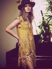 RARE FREE PEOPLE MAGIC GARDEN PARTY DRESS EMBROIDERED GOLD PINK BEADED M $500