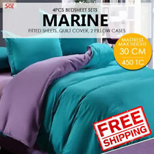 4 PCS Bedsheet Set- Marine S/Single -1 Fitted Sheet+2 Pillow Cases+1 Quilt Cover