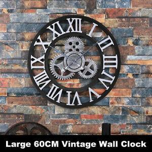 Large 60cm Outdoor Garden Wall Clock Big Roman Numerals Giant Open Face Vintage