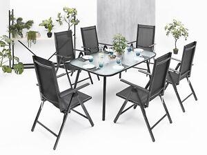 6+1 Sitzgruppe Gartenmöbel Gartengarnitur Tisch Stuhl Schwarz Gartenset