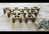"""Lot 10 Small Vintage Drawer Pulls Cabinet Handles Aged Brass Color 15/16"""" c-c"""