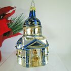 """Mercury glass large Blue Domed Capital Building Xmas Ornament gold 5.5"""""""