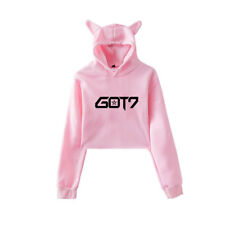 KPOP GOT7 Women Cropped Hoodie Girl's Sweatshirts Cat Ears Crops For Gifts S-2XL