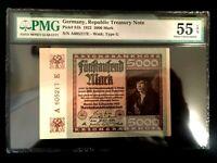 Antique Rare Historical 5000 German Marks 1922 -  PMG Certified UNC EPQ