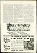1889 antica stampa annuncio sapolio House di pulizia per rammendare WEAVER Rowland's (362)