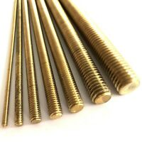 "1/8"" 3/16"" 1/4"" 5/16"" 3/8"" 1/2"" 5/8"" BSW Whitworth Brass Threaded Bar Rod Studs"