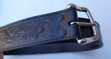 Wrangler Silver Buckle Mens Top Grain Leather Floral Belt Sonora Mexico 32 80