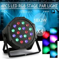 4PCS Bühnenlicht 54W RGB 18LED Par CAN DMX-512 Disco KTV Party Stage Lichteffekt