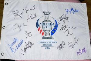 Lexi THOMPSON CREAMER Michelle WIE Kerr LANG + Signed 2015 SOLHEIM CUP USA FLAG