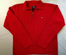 Polo Ralph Lauren Mens Sweater L Large Red Cable Knit Sweater Flag Logo 1/4 zip