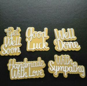 10 pce sympathy well done luck get well handmade words cutting die set uk seller