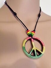Adjustable Rasta Peace Sign Necklace With Red, Green And Yellow Beads