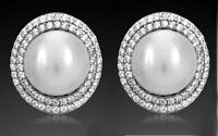 925 ECHT SILBER RHODINIERT *** Große Perlen Zirkonia Ohrstecker oval 14 mm