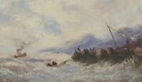 Mid 20th Century Oil - Rough Seas Approaching Shore