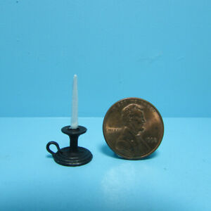 Dollhouse Miniature Chamber Candle with Black Base Holder IS0919-1