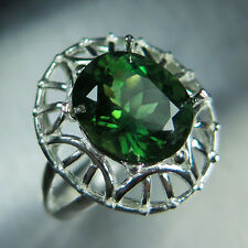 4.90cts Natural Olive green Apatite, oval cut 925 sterling Silver unisex ring