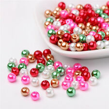 200pcs Christmas Mix Pearlized Glass Pearl Beads Mixed Color 6mm DIY Crafting