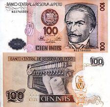 Peru 100 Intis Banknote World Paper Money UNC Currency Pick p133 Bill Note