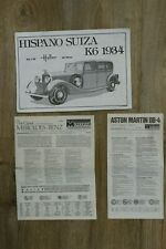 Notices manuels d'instructions voitures : Aston martin DB4 Hispano suiza Mercede