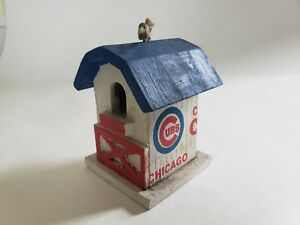 Chicago Cubs mini wooden blue and white birdhouse