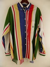 VTG Nautica Colorblock Wide Stripe Sailing Crest Long Sleeve Shirt Size XL USA