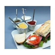 Ceramic and Chrome Plated Heart Condiment Set with Spoons