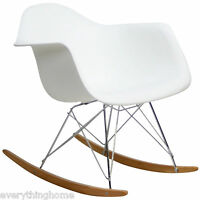 Rocker Rocking Chair White Eiffel Wing Cradle Plastic Shell Wire Base Midcentury