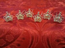 6 DIAMANTE CRYSTAL SILVER CROWN HAIR PINS HAIRPINS RHINESTONE WEDDING BRIDAL