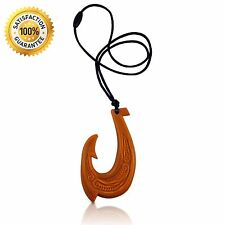 Hawaiian Fish Hook Silicone Teething Necklace, BPA Free Teether (Wood Design)