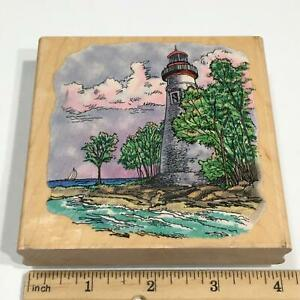 Stampendous Marblehead Lighthouse Wood Mounted Rubber Stamp W004 Seascape