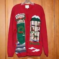Ugly Christmas Sweater Vintage Susan Bristol Embroidered Red Mix Toy Shop XL