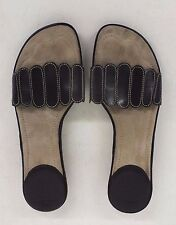Cole Haan N ike Air High-Quality Black Leather Slides US Women's 7 AA EXCELLENT