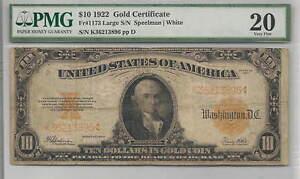1922 $10 Gold Certificate FR#1173  : PMG 20