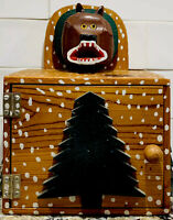 Contemporary Folk Art Wood Box, Hand-painted Bear Head, Artist Carey, 1985