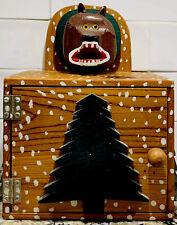 Contemporary Folk Art Wood Box, Hand-painted Bear Head, Artist Carey, 1985