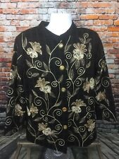 Indigo Moon Black and Gold Tapestry Floral Hippie Jacket Embroidered Large