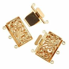 Three Strand Gold Tone Filigree Push Pull Box Clasp - Multi-Strand Clasp