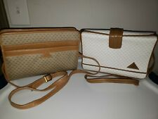 Vintage Liz Claiborne Two Handbags Purses Crossbody Bags Triangle Print Trim