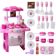 Kids Kitchen Cooking Pretend Role Play Toy Set with Light Sound Effect Xmas Gift