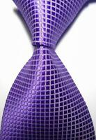 New Classic Checks Light Purple White JACQUARD WOVEN 100% Silk Men's Tie Necktie