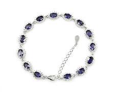 925 Sterling Silver Blue Sapphire Natural Gemstone September Birthstone Bracelet