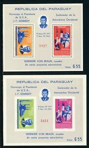 Paraguay Scott #841a MNH S/S BOTH TYPES Space Achievements JFK CV$62+ TH-1