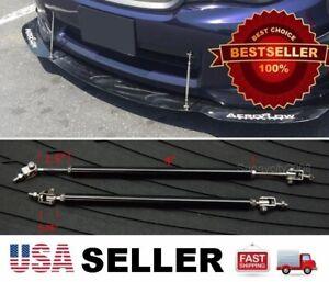 "Black 5.5"" - 8.5"" adjustable extension Rod Bumper Lip Diffuser splitter For Benz"