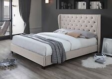 Diamond Wing Queen Size Fabric Bed Frame - Oat White