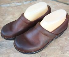 Size 7 Eu 38 BORN Smooth Leather Brown Clogs Shoes Professional Medical Nursing
